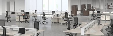 Picture of 4 Person Teaming Bench Workstation with Power and Ergonomic Chairs