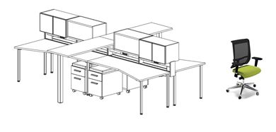 Picture of 4 Person Teaming Bench Workstation with Storage, Power and Ergonomic Chairs