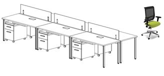 Picture of 6 Person Teaming Workstation with Mobile Pedestals and Ergonomic Chairs