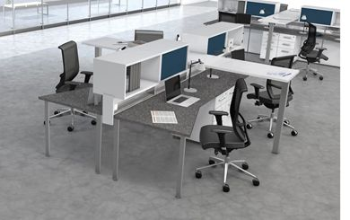 Picture of 4 Person Powered Teaming Bench Workstation with Filing Storage and Ergonomic Seating