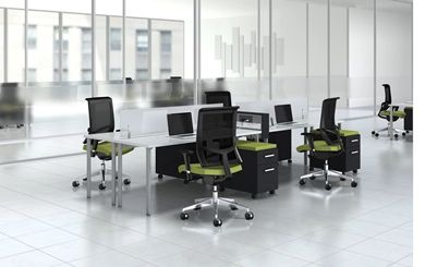 Picture of 4 Person Powered Teaming Desk Workstation with Filing and Ergonomic Seating