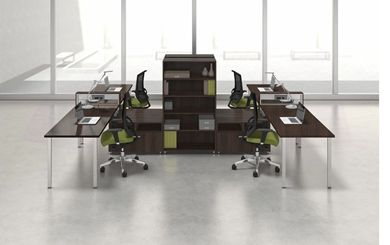 Picture of 4 Person Powered L Shape Teaming Bench Workstation with Storage and Ergonomic Seating