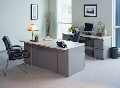 "Picture of 72"" Executive Steel Desk with Kneespace Credenza"