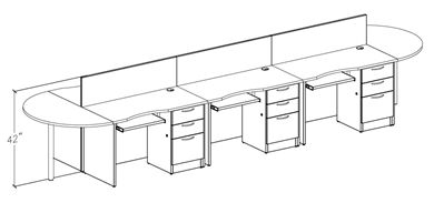 Picture of 6 Person Shared Workstation with Filing Pedestal