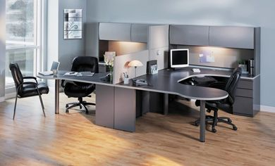 Picture of 2 Person U Shape Office Desk Workstation with Filing and Overhead Storage