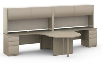 Picture of 2 Person L Shape Metal Desk Workstation with Overhead Storage