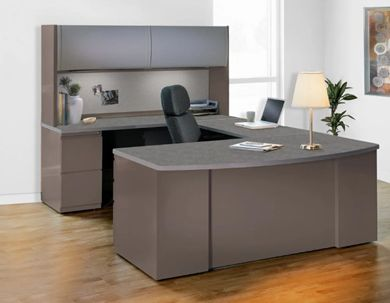 "Picture of 72"" Bowfront Metal Office Desk Workstation with Filing Storage"