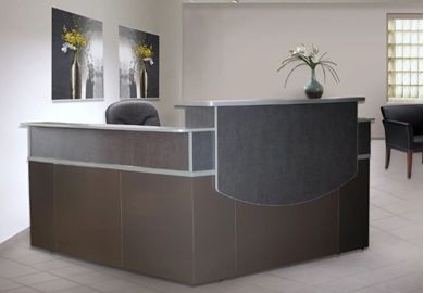 "Picture of 72"" L Shape Metal Reception Desk Workstation"