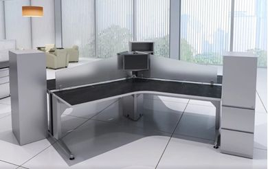 Picture of 3 Person Powered Desk Station with Storage Cabinets