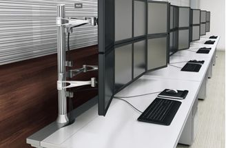 Picture of 5 Person Powered Teaming Bench Workstation with Quad Monitor Arms
