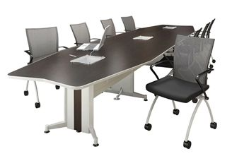 Picture of 18' Boat Shape Contemporary Conference Table with Power Access and Nesting Chairs