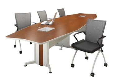 Picture of 12' Boat Shape Contemporary Conference Table with Power Access and Nesting Chairs