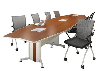 Picture of 18' Boat Shape Contemporary Conference Table with Power and Nesting Chairs