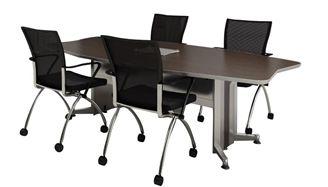 Picture of 10' Boat Shape Contemporary Conference Table with Power Access and Nesting Chairs