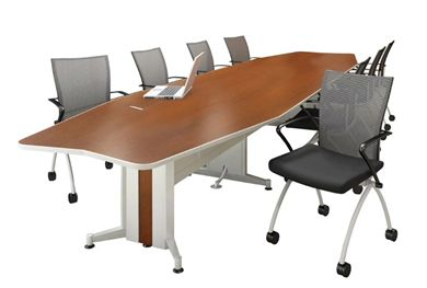 Picture of 18' Boat Shape Contemporary Conference Table and Nesting Chairs