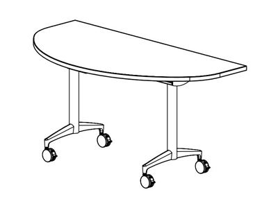 "Picture of 60"" Half Round Flip Top Mobile Training Table"