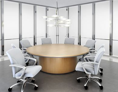 """Picture of 120"""" Round Veneer Meeting Conference Table"""