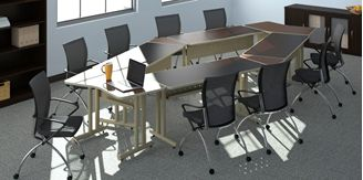 Picture of Oval Shape Conference Training Table Set with Nesting Chairs