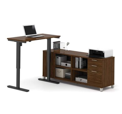 Picture of L-Desk Including Electric Height Adjustable Table In Brown Oak