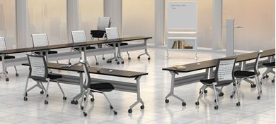 Picture of U Shape Mobile Flip Top Training Meeting Tables Set