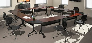 Picture of O Shape Mobile Flip Top Training Meeting Tables Set