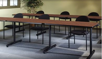 """Picture of Set of 6, 48""""W Training Table with Fixed Tubular Base"""