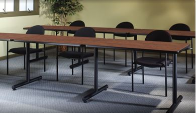 """Picture of Set of 6, 72""""W Training Table with Fixed Tubular Base"""