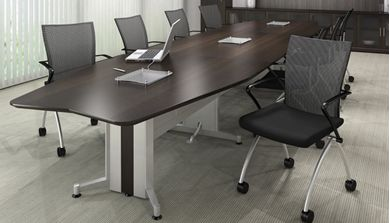 Picture of 18' Conference Table with 8 Mobile Nesting Conference Chairs