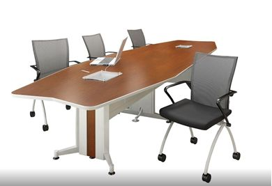 Picture of 12' Boat Shape Conference Table with 4 Mobile Nesting Conference Chairs