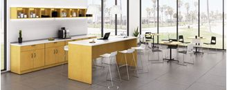 """Picture of 72""""W Standing Height Meeting Desk with Cafe Tables and Storage Buffet"""