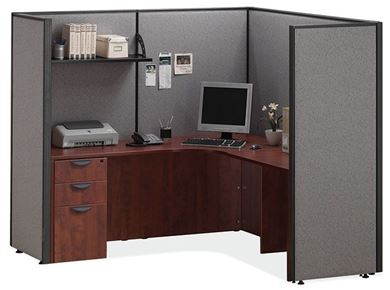 "Picture of 72""W L Shape Powered Cubicle Desk Workstation"