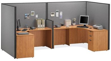"Picture of 72""W 2 Person Powered L Shape Desk Open Cubicle Workstation"