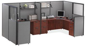 Picture of 2 Person Powered L Shape Office Desk Cubicle Workstation