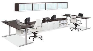 Picture of 2 Person Powered Standing Height Desk Station with Storage and Wall Mount Storage