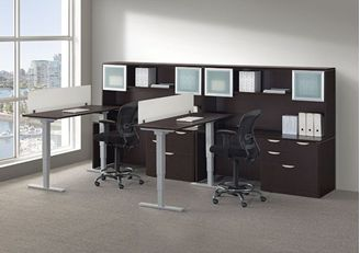 Picture of 2 Person L Shape Powered Height Adjustable Desk Workstation with Credenza Storage