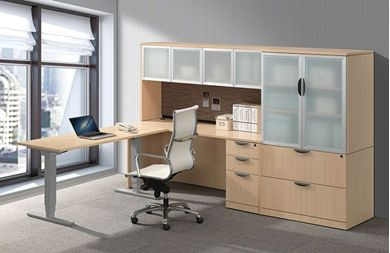 Picture of L Shape Powered Height Adjustable Table with Credenza and Lateral File Storage