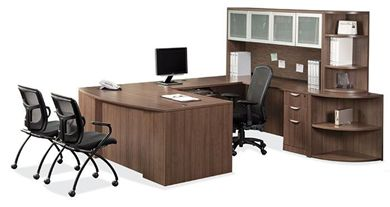 "Picture of 72""W Bowfront U Shape Desk Workstation with Overhead and Bookcase Storage"