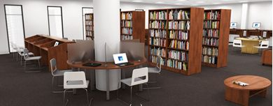 Picture of Custom Setup, Library Study Carrels, Circular Table with Storage Bookcases