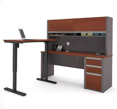 Picture of L Shape Powered Height Adjustable Table with Filing and Overhead Storage