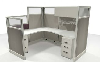 Picture of 6' x 7' Powered Cubicle L Desk Workstation
