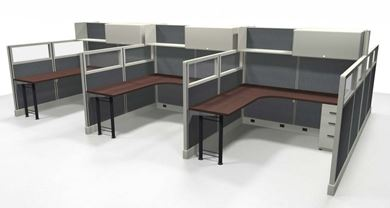 Picture of Cluster of 6 Person, 6' x 6' Powered L Shape Cubicle Workstation