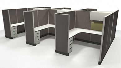 Picture of Cluster of 6 Person, 6' x 6' L Shape Powered Cubicle Desk Workstation