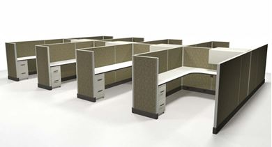 Picture of Cluster of 8 Person, 6' x 8' L Shape Powered Cubicle Desk Workstation