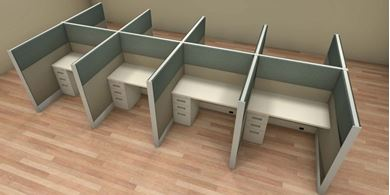 Picture of Cluster of 8 Person, 4' x 4' Powered Cubicle Workstation