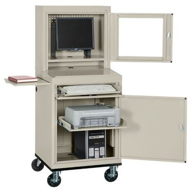 Picture of Computer Security Workstation With Slide Out Shelf