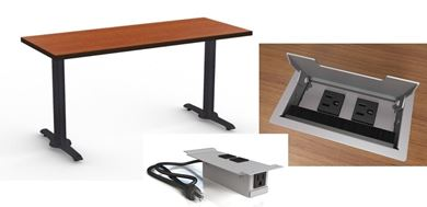 """Picture of Set of 4, 96"""" Fixed Training Table with Power Module"""