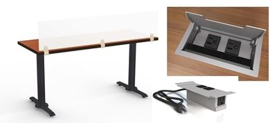 "Picture of Set of 4, 42"" Fixed Training Table with Power Module and Privacy Divider"