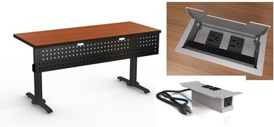 "Picture of Set of 4, 42"" Fixed Training Table with Power Module and Modesty Panel"