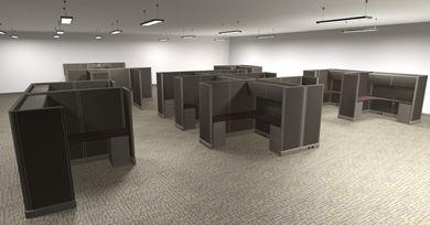 Picture of Preconfigured 15 Person L Shape Cubicle Desk Workstation