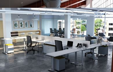 Picture of 4-Person Teaming Workstation with Height Adjustable Returns